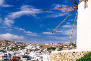 White mill overlooking Mykonos in the Cyclades